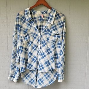 Free People Plaid Oversize Sheer Top High Low LS M